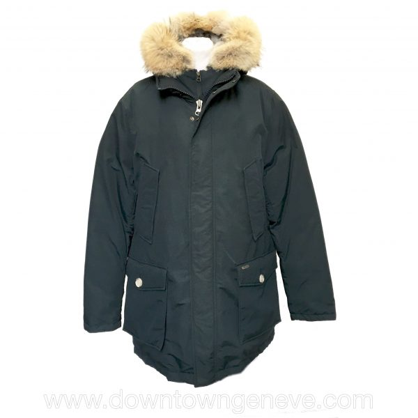 Woolrich Arctic parka in navy with removable fur hood partial gilet
