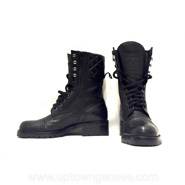Chanel combat boots in black quilted leather