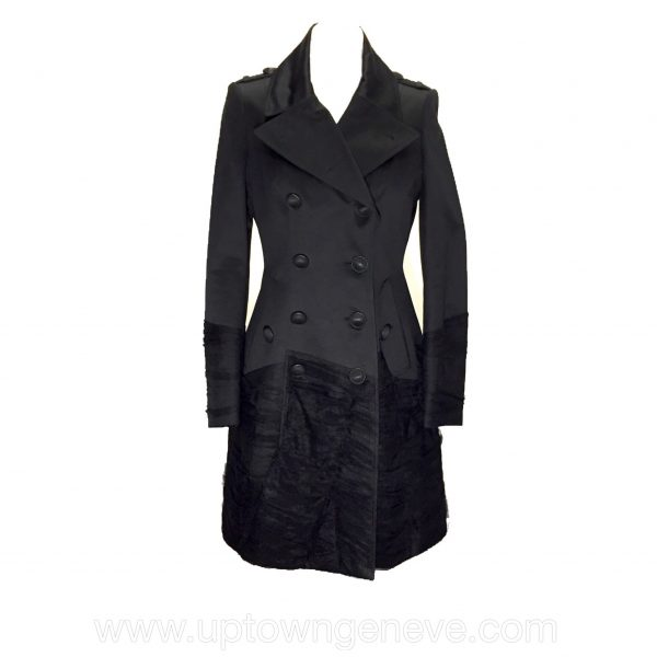 Burberry Prorsum trench coat in black satin with net trim