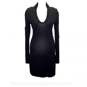 Alexander McQueen dress in black wool with pleated skirt