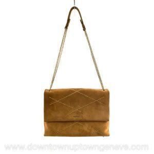 Lanvin Sugar shoulder bag MM in sand-colour quilted suede